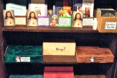 Shelf of gift boxes